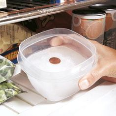 To find out if a power outage ruined frozen food while you were away, freeze a container of water and rest a coin on the ice. If the coin is at the bottom when you get back, it means the power was out long enough for everything to thaw. Check out more handy hints. | Handyman Magazine |