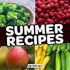 Learn what food is in season and get summer recipes using seasonal produce. Find the best recipes for cooking in the Summer right here. | sipbitego.com Summer Squash Recipes, Summer Dessert Recipes, Summer Salad Recipes, Vegetable Dishes, Vegetable Recipes, Goat Cheese Pizza, Make Ahead Salads, Vegetable Seasoning, In Season Produce