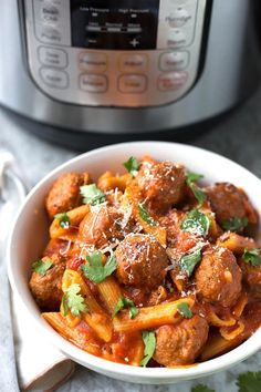 Instant Pot Meatball Pasta Dinner can be on the table in under an hour! Using frozen pre-cooked meatballs & jarred pasta sauce, let Instant Pot do the work!