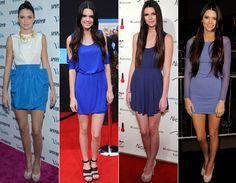 Uma das cores preferidas de Kendall para os red carpets é o azul, que vai do klein ao marinho. Elegante!   Estilo de estrela: Kendall e Kylie Jenner! - Moda - CAPRICHO