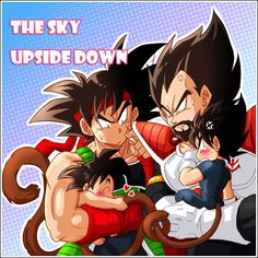 DBZ Bardock and King Vegeta with their sons The Sky Upside Down
