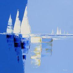 Les voiles blanches  | 90 x 90 cm | Huile sur toile