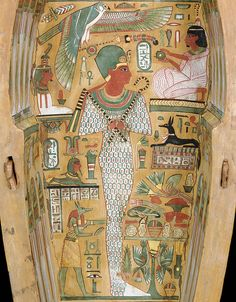 Among the many other figures, the inside of Neshkons' sarcophagus features a small sphinx to the left of the central figure (Amenhotep I), below which is a standing Anubis. To the right of the Anubis is a table of offerings, and above that there is a small black figure — Anupet, the female Anubis.