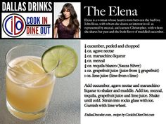 The Elena - A refreshing mezcal drink with muddled cucumber, an ingredient she shares with her longtime love, Christopher.