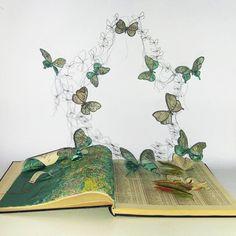 Where by Betty Pepper (book art) Folded Book Art, Book Folding, Book Crafts, Paper Crafts, Art Altéré, Libros Pop-up, Altered Book Art, Up Book, Book Projects