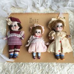 Extremely Rare 1900's Salesman Sample Card with 3 Rare German Googly Dolls
