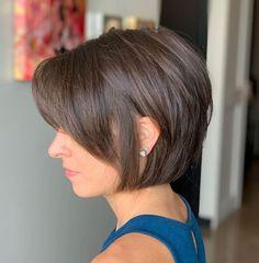 Jaw-Length Cut For Thin Hair Thin Hair Cuts, Short Thin Hair, Short Hair With Layers, Short Hair Cuts For Women, Thick Hair, Short Cuts, Straight Hair, Bob Hairstyles For Fine Hair, Haircuts For Fine Hair