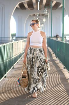 Golden Hour in Vero Beach Florida | Beach Vacation Outfit | White Crop Top Printed Maxi Skirt M.Gemi Sandals | Fashion Living After Midnite Style Blogger Jackie Giardina