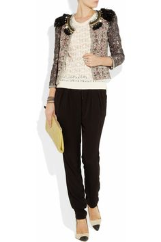 Isabel Marant top, pants, bracelet and shoes, Pamela Love ring, Chan Luu bracelet, Miu Miu clutch.