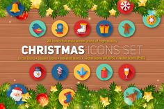 Christmas Flat Icons Set by Yuzach on Creative Market