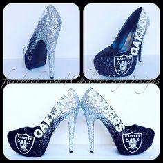 Oakland Raiders Glitter High Heels by ChelsieDeyDesigns on Etsy