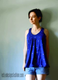 Make a cute and flattering custom summer top with this swing shirt sewing tutorial.