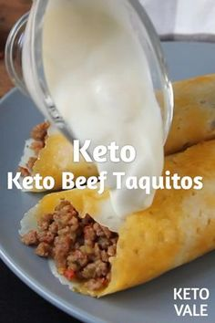 Low Carb Beef Taquitos with Cheese Taco Shells for Keto diet #taco #taquito #beef #keto #ketorecipes #ketodiet
