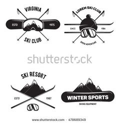 Set of Ski Club. Vintage Mountain winter badges. Outdoor adventure logo design. Travel hand drawn and hipster insignia. Snowboard icon symbol.Vector illustration