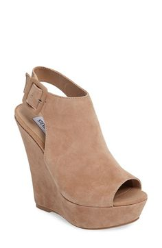 Free shipping and returns on Steve Madden Elvy Wedge Sandal (Women) at Nordstrom.com. A sky-high covered wedge distinguishes a striking peep-toe sandal crafted from soft suede.