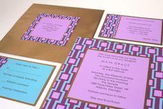Contemporary Aqua, Purple and Gold Bat Mitzvah Invtitations
