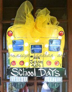 Ordered for my front door~ Not happy about going back to school~ but the door will look cute! :)School Days Door Hanger  Bronwyn Hanahan by BronwynHanahanArt, $45.00