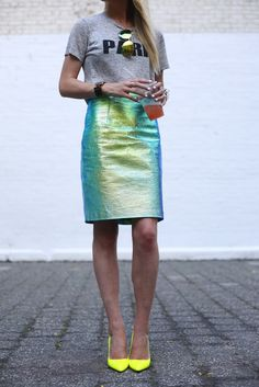 Iridescent skirt with neon yellow pumps