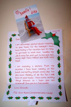 Elf on the Shelf is on Vacation Letter