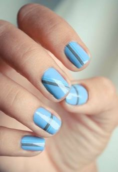 Simple Nail Designs. Lines going different directions