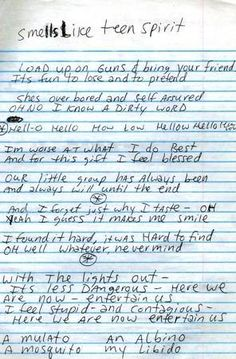 "The lyrics to Nirvana's hit ""Smells Like Teen Spirit,"" by Kurt Cobain. Music Love, Music Is Life, Rock Music, My Music, Indie Music, Music Quotes, Music Lyrics, Song Quotes, We Will Rock You"