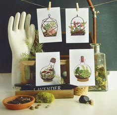 Terrarium Postcard SET 4pcs by QuillandFox on Etsy, $7.00