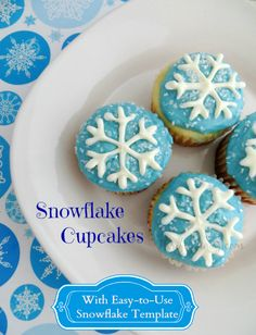 These snowflake cupcakes are perfect for a Frozen birthday party or any winter celebration. The snowflakes on top are easy to make using a printable template.