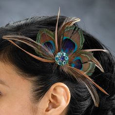 Peacock Hair Clip (Lillian Rose JL234)   Buy at Wedding Favors Unlimited (http://www.weddingfavorsunlimited.com/peacock_hair_clip.html).