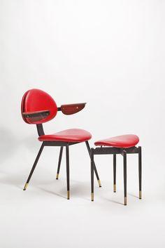 Carlo Mollino, Stuhl mit Hocker für die Lutrario Tanzhalle Turin (1959)