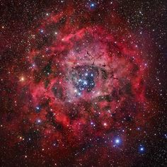 Although the Rosette nebula is not very bright - it is much too faint to see with the naked eye - it is famous mainly because it is a striking circular shape resembling a flower. The Rosette nebula is in the Perseus Arm of the Galaxy and has a young star cluster at the centre of it.  #space #astronomy #astrophysics #univers #nebulae #stars #beautiful #spaceexploration #astrophotography #amazing #astronomer #telescope #hubble #incredible #discoverastronomy by discoverastronomy
