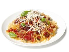 Spaghetti or Not : Have a pasta night without the pasta! Enjoy Italian flavors from pancetta, fresh basil and olives in this puttanesca-inspired sauce served over tender spaghetti squash.