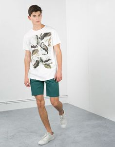 Leaves and text top - T-shirts - Bershka United Kingdom