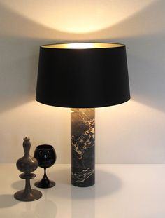 LITA GM HERITAGE lampe à poser Hauteur 69cm. Marbre Nero Portoro. Abat-jour conique Noir & Or. LITA GM HERITAGE Table lamp Total Height 69cm - 27,17 inches. Nero Portoro marble Conical lampshade Black & Gold. www.dayglow.fr Marble Collection, Marble Lamp, Day Glow, Black Gold, Table, France, Lighting, Inspiration, Design