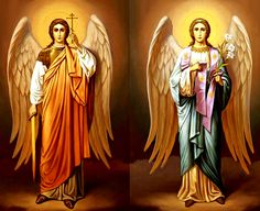 Happy Name Day! Celebrating the Holy Archangels Michael and Gabriel - Beyond Dracula Happy Name Day, Christian Symbols, Religious Images, Archangel Michael, Blessed Virgin Mary, Guardian Angels, Orthodox Icons, Angel Art, Mother Mary