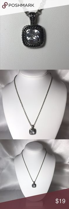 Silver Tone Square Rhinestone Drop Pendant Necklac Silver Tone Square Rhinestone Drop Pendant Necklace measuring 18-21 inches, Princess to Matinee Length  Condition:   Pre-owned Vintage Good condition, no issues. Vintage items may show signs of age, tarnish or wear.  V21 Jewelry Necklaces