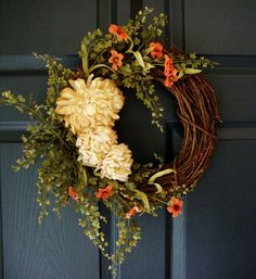 Fall Tea Stained Mum Wreath w Maidenhair Fern - Fall Door Wreaths - Autumn Rustic Wreath - Complementary UV Resistant Wreath Coating Upgrade