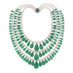 An impressive antique emerald, pearl and diamond necklace