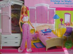 Living room barbie furniture living in style new mattel for Barbie dream house bedroom