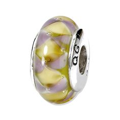 Sterling Silver Reflections Purple/Yellow Hand-blown Glass Bead