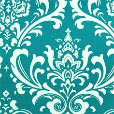 """This is a beautiful turquoise and white printed drapery fabric by Premier Prints. Ideal as curtain fabric, drapery fabric, bedding fabric, headboard fabric, decorative pillows. Fabric suitable for many home decorating applications. Dry cleaning recommended. Compared at $13.95.Minimum 1 yard.Samples are not available for this item. This item usually ships within one week of order date. Width: 54""""H.Repeat: 12.5""""V.Repeat: 12.5""""100% CottonV114TNF"""