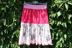 Stufenröcke - Rock pink rosa Spitze Blumen Jersey Cord Mode  - ein Designerstück von trixies-zauberhafte-Welten bei DaWanda