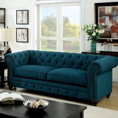 Darby Home Co Flounder Chesterfield Sofa Upholstery: Dark Teal Painted Bedroom Furniture, Sofa Furniture, Furniture Design, Metal Furniture, Pallet Furniture, Luxury Furniture, Furniture Makeover, Vintage Furniture, Furniture Ideas
