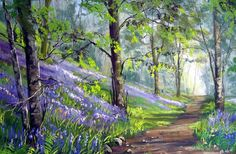 """""""Bluebell Walk"""" - painting by Jane Ward; painted at White Moss Common near Grasmere, Lake District, Cumbria, England Easy Watercolor, Watercolor Landscape, Landscape Art, Landscape Paintings, Watercolor Paintings, Let's Make Art, Pictures To Paint, Scenery, Abstract"""