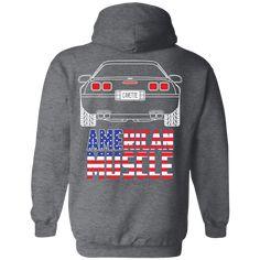 WheelSpinAddict Mens Corvette C5 American Flag Pullover Hoodie