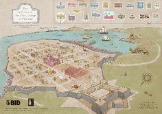 mapa de montevideo antiguo, la ciudadela, la bahía y el cerro