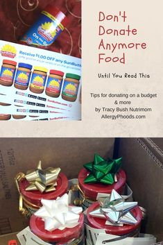 We all see them- the boxes at our local food stores. Around the holidays, they pop up like mad and you want to help, you want to give to a family that needs a little extra TLC. Who doesn't? Next time, stop and look inside ... click to read more #donate #food #allergies #budget #tips #money #pantry #donations #article