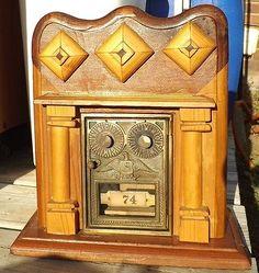 Antique Folk Art Bank / Antique Corbin DD Post Office Box Door - W/ Combination