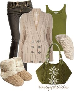 """Olive and Ivory"" by kaseyofthefields ❤ liked on Polyvore"