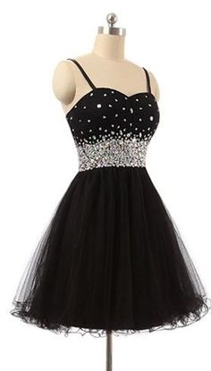 Spaghetti Strap Sweetheart A-line Short Homecoming Dress with Crystal Beads Embellishment