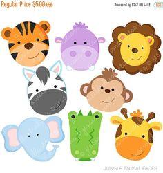 SALE Jungle Animal Faces Cute Digital Clipart - Commercial Use OK - Jungle Animal Clipart, Jungle Animal Graphics